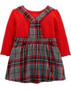 Ensemble 2 pièces cache-couche et robe chasuble à motif écossais, , hi-res