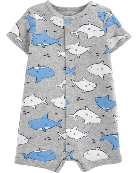 Barboteuse à boutons-pression avec requin