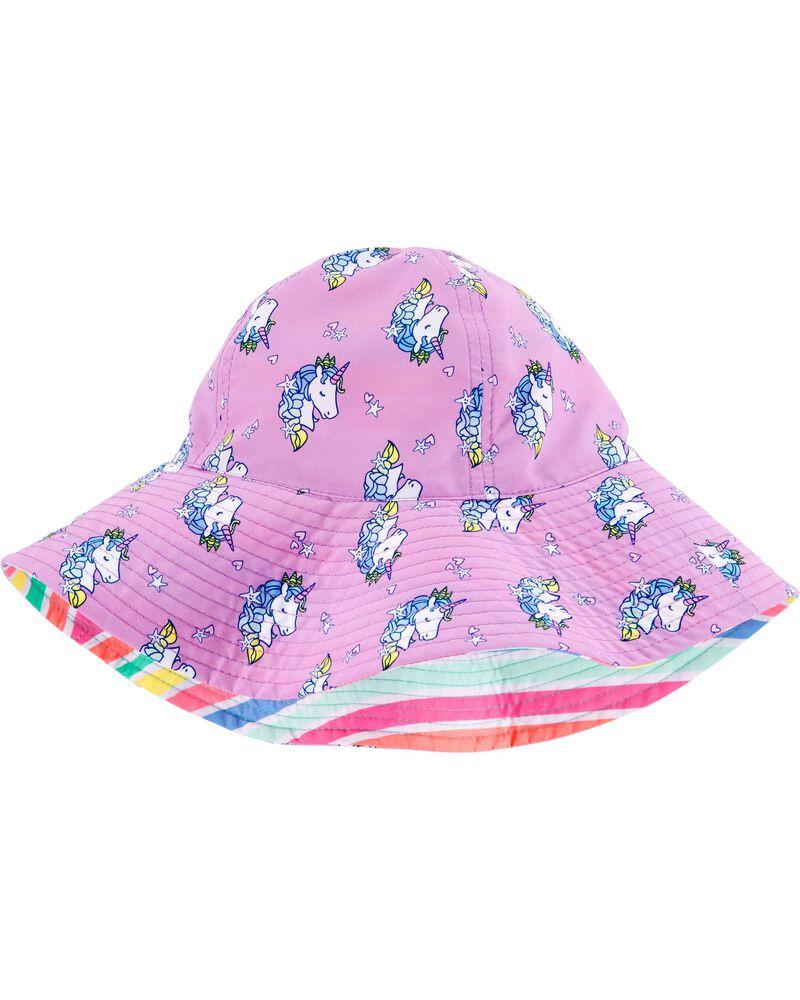 Chapeau de soleil réversible à licorne, , hi-res
