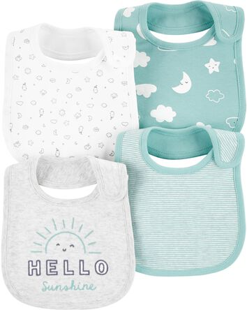 4-Pack Sun Teething Bibs