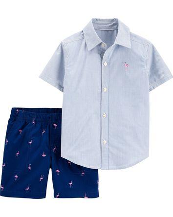 2-Piece Striped Button-Front Shirt...