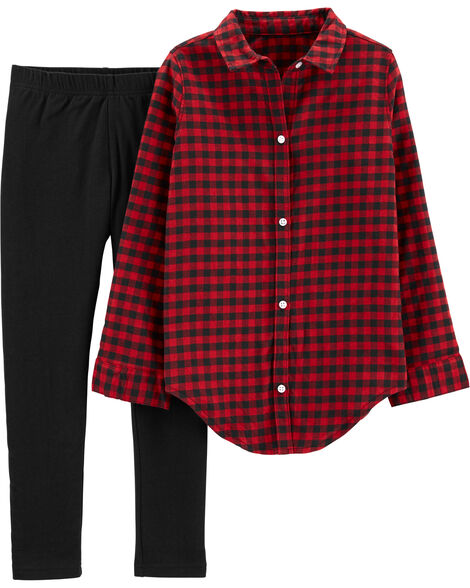 2-Piece Buffalo Check Twill Top & Glitter Legging Set