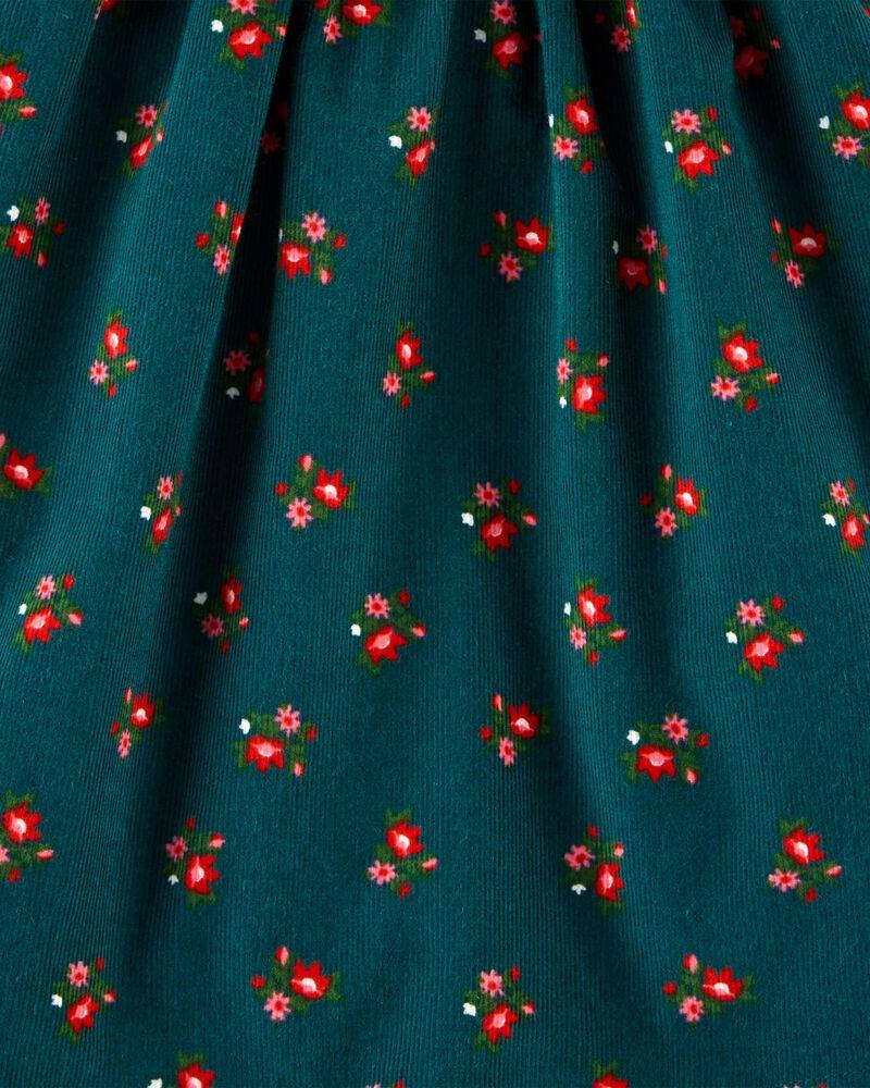 Robe en velours côtelé fleurie, , hi-res