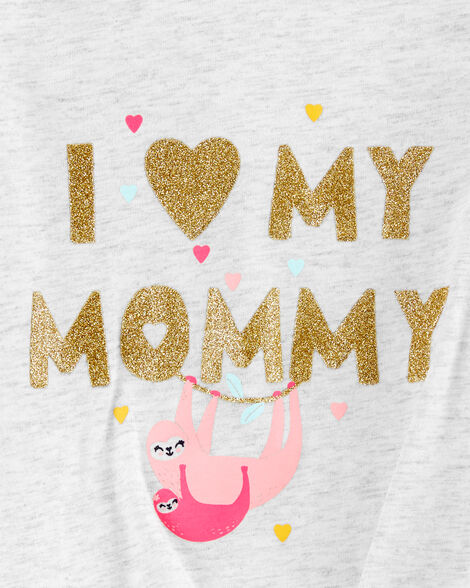 Glitter Mommy Sloth Tie-Front Jersey Tee