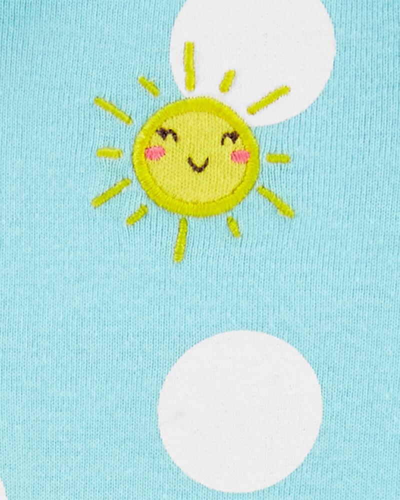 Grenouillère en coton à glissière 2 sens motif de soleil et pois, , hi-res