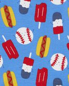 Pyjama 4 pièces en coton ajusté à motif baseball, , hi-res
