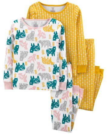 Pyjama 4 pièces en coton ajusté ani...