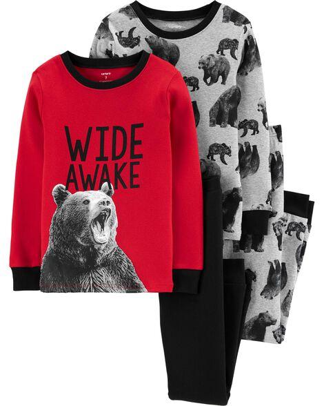 Pyjama 4 pièces en coton ajusté ourson