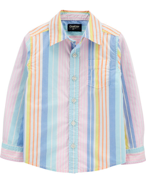 Striped Button-Front Shirt