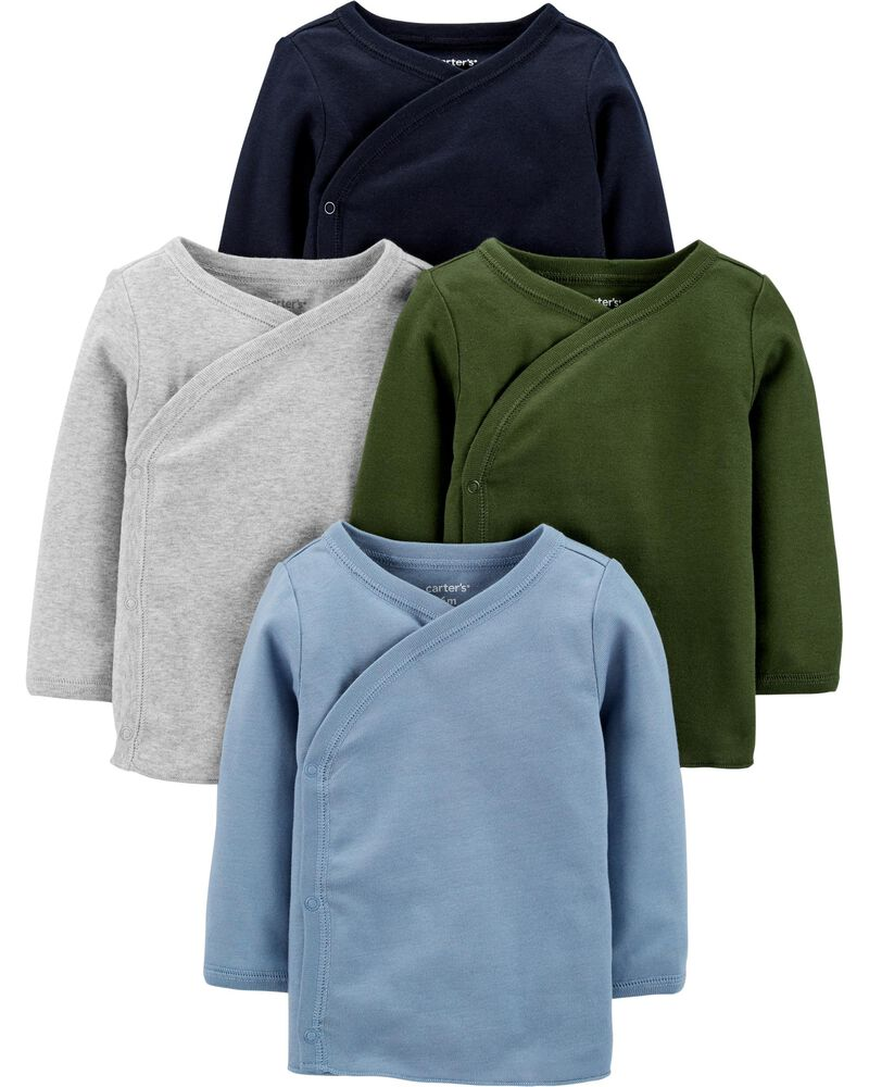 4-Pack Long-Sleeve Side-Snap Bodysuits, , hi-res