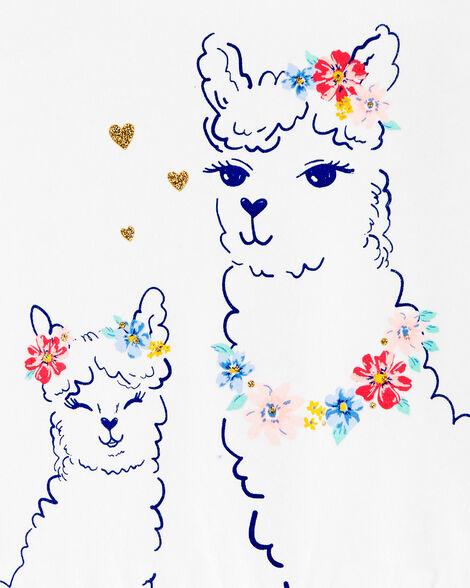 Floral Llama Peplum Jersey Top