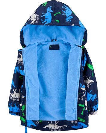 Fleece-Lined Dino Print Rain Jacket