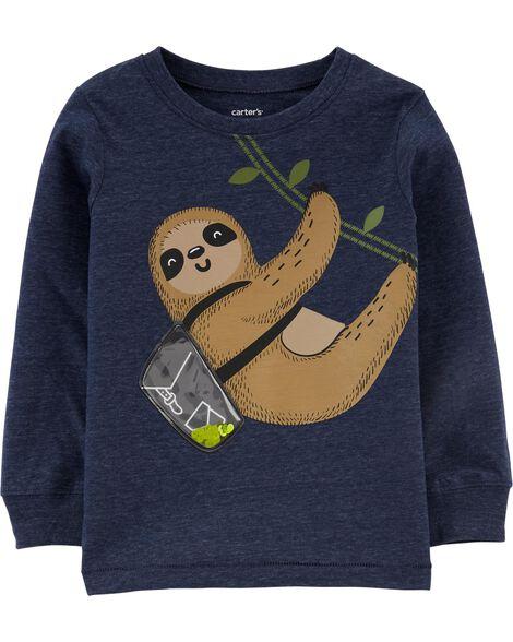 T-shirt en jersey chiné avec paresseux pailleté