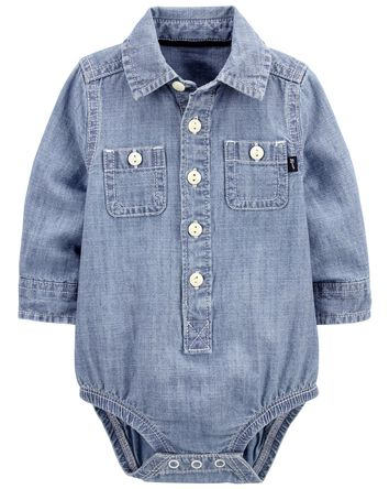 Chambray Button-Front Bodysuit