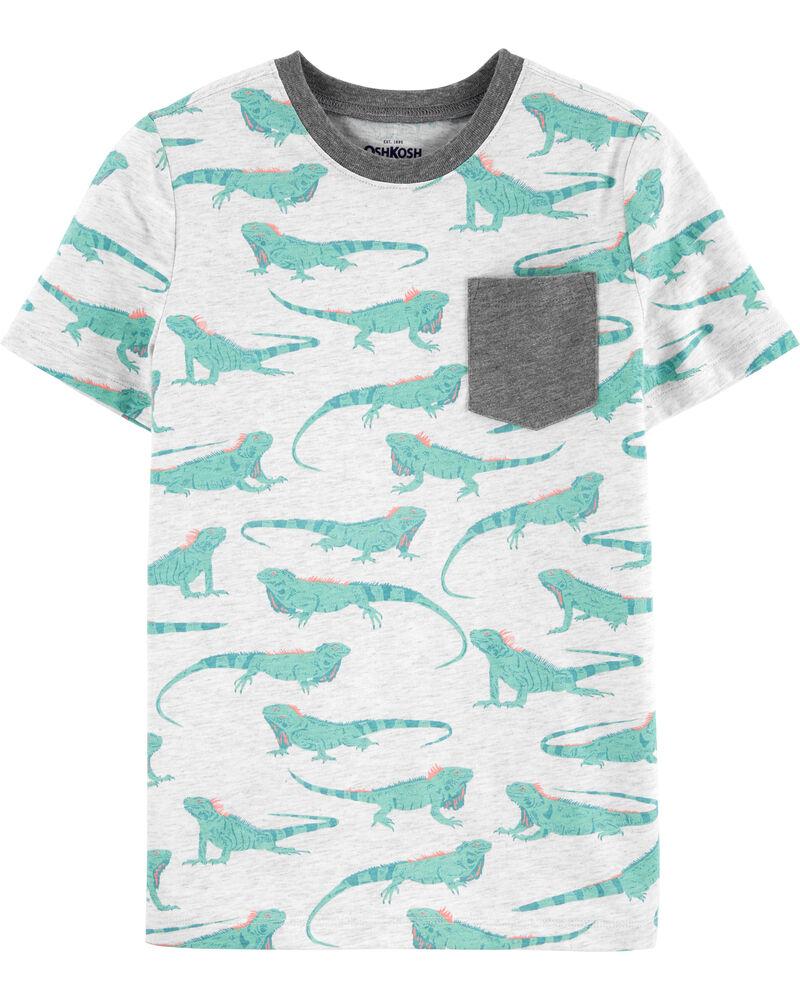 T-shirt à poche avec iguanes, , hi-res
