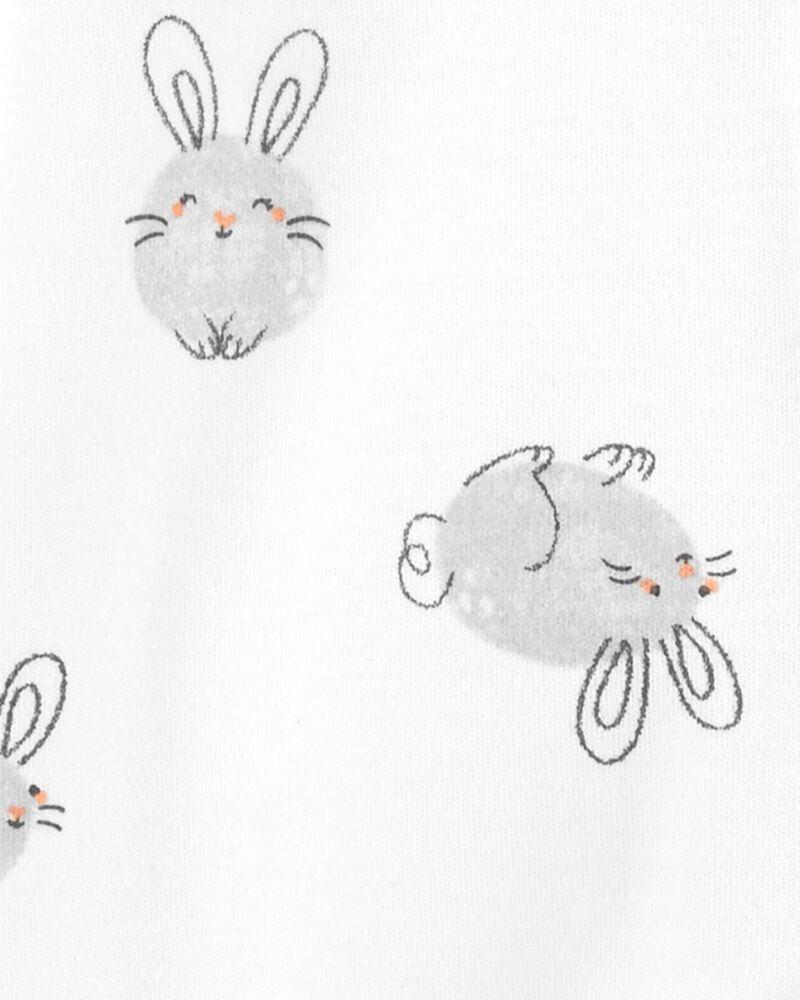 Grenouillère en coton pour dormir et jouer avec glissière et motif de lapin, , hi-res