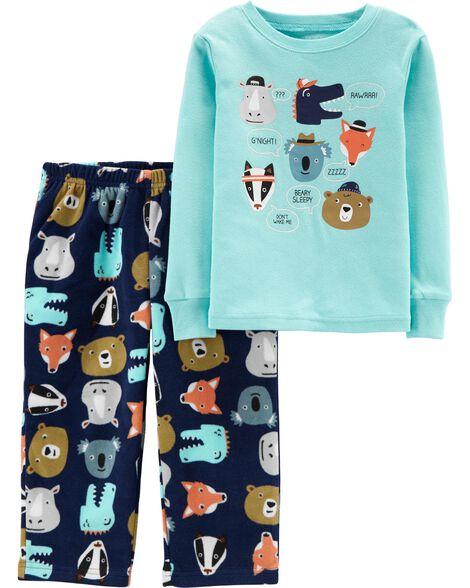 2-Piece Animals Snug Fit Cotton & Fleece PJs