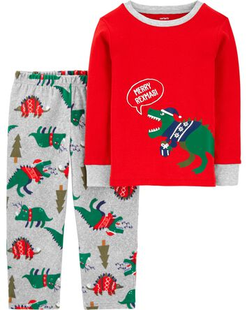 2-Piece Dinosaur Holiday Fleece PJs