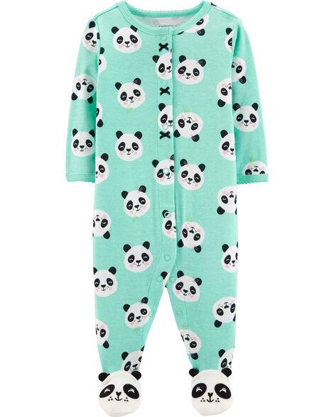 Panda Button-Up Cotton Sleep & Play