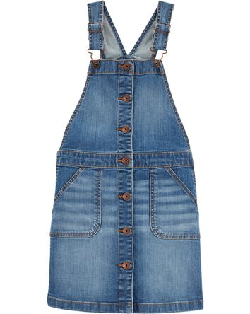 Button-Front Stretch Denim Jumper