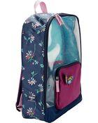 Floral Clear Glitter Backpack, , hi-res