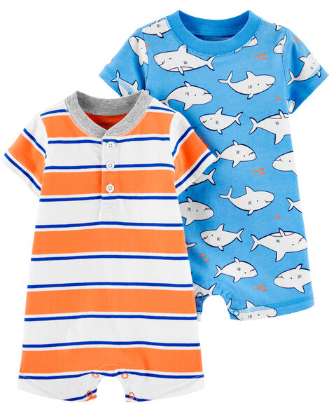 2-Pack Shark Rompers