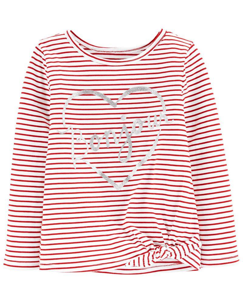 T-shirt en jersey à cœur Bonjour, , hi-res