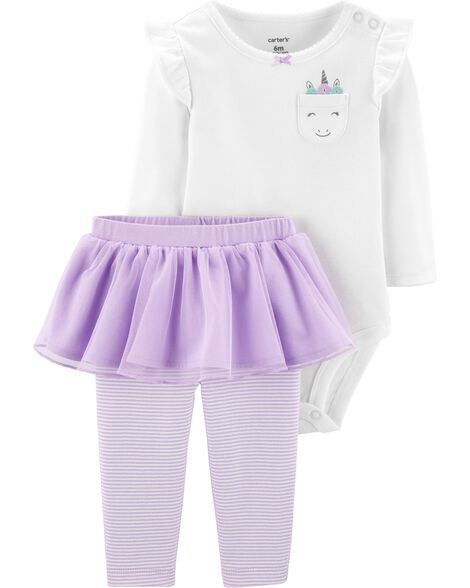2-Piece Unicorn Bodysuit & Tutu Pant Set