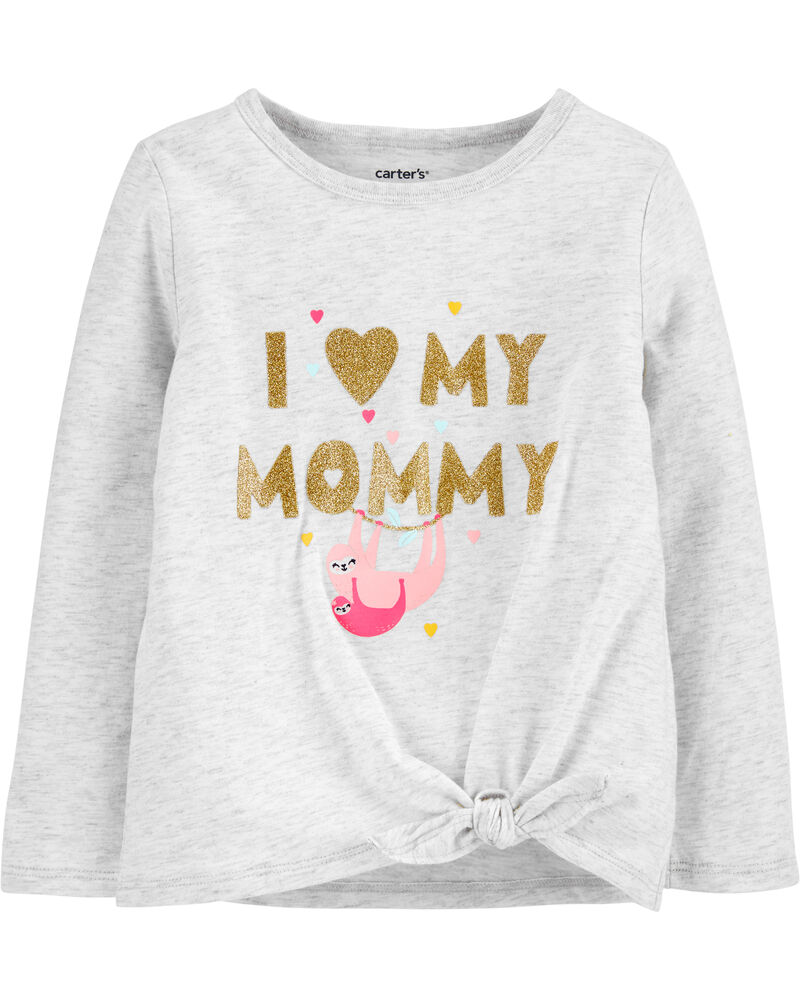 Glitter Mommy Sloth Tie-Front Jersey Tee, , hi-res