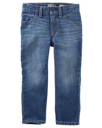 Jeans droit - délavage bleu ancre