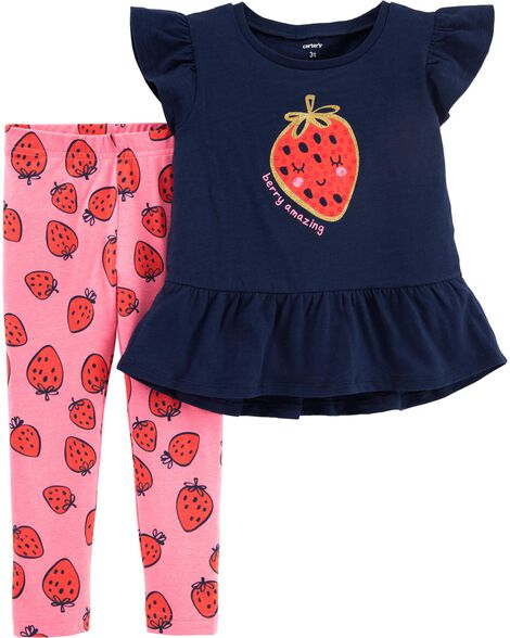 2-Piece Glitter Strawberry Top & Legging Set