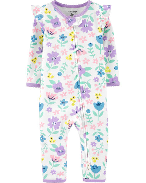 Floral 2-Way Zip Cotton Footless Sleep & Play