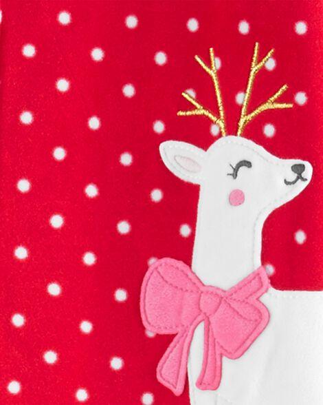 Pyjama 1 pièce à pieds en molleton avec renne festif