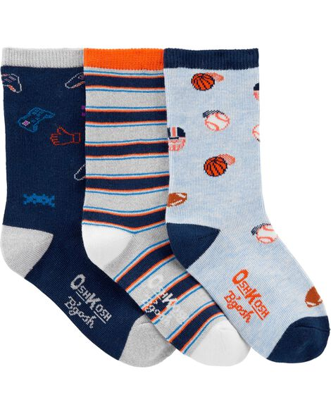 3-Pack Let's Play Crew Socks
