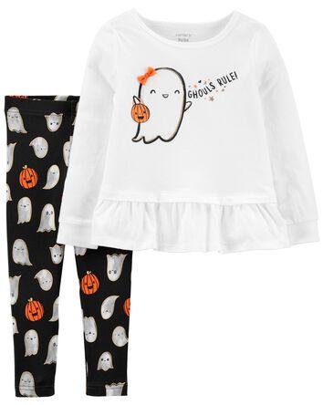 2-Piece Halloween Ghost Tee & Leggi...
