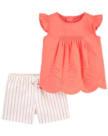 2-Piece Eyelet Top & Striped Short...