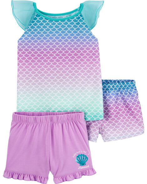 3-Piece Mermaid Poly PJs