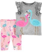 2-Piece Flamingo Flutter Tee & Playground Short Set, , hi-res