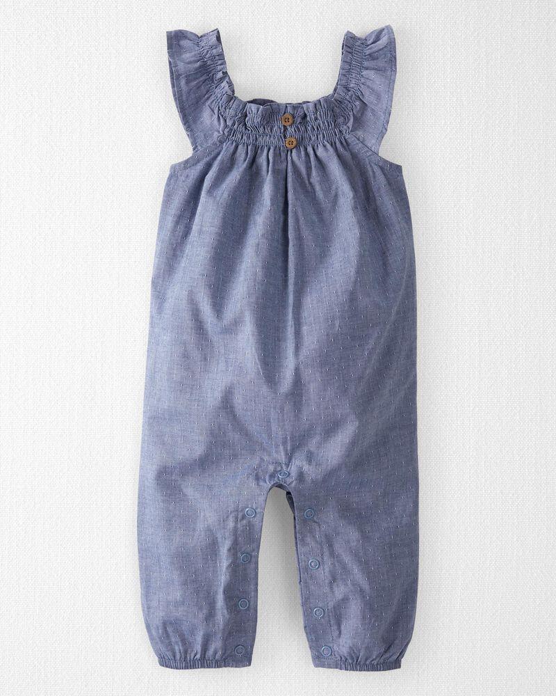 Organic Cotton Smocked Jumpsuit, , hi-res