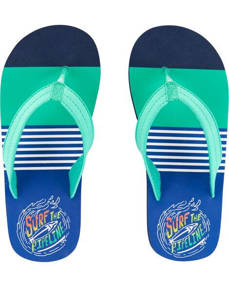 Striped Surfer Flip Flops