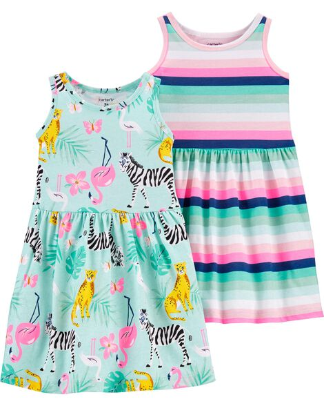 2-Pack Animals & Stripes Jersey Dresses