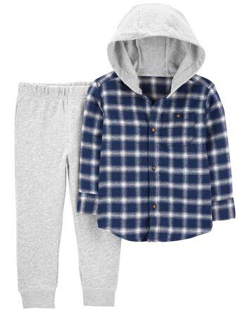 2-Piece Flannel Button-Front & Pant...
