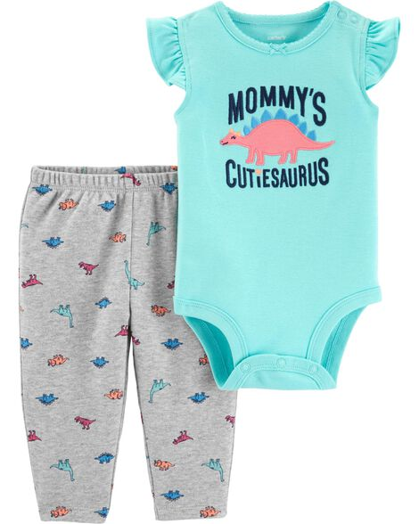2-Piece Dinosaur Bodysuit Pant Set