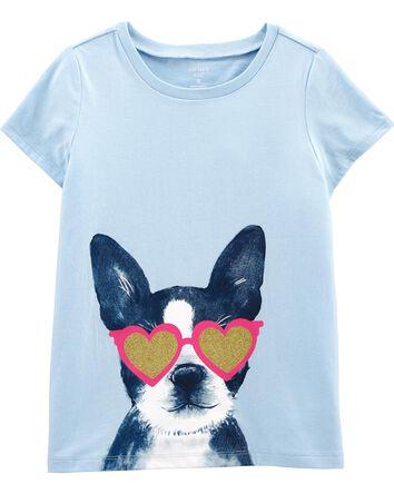 T-shirt en jersey chien scintillant