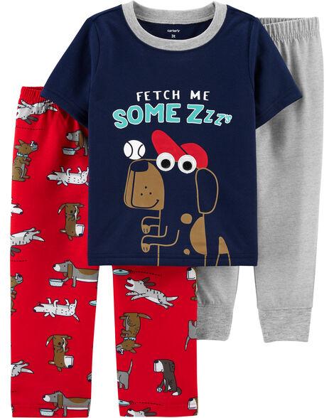 Pyjama 3 pièces en polyester à chien