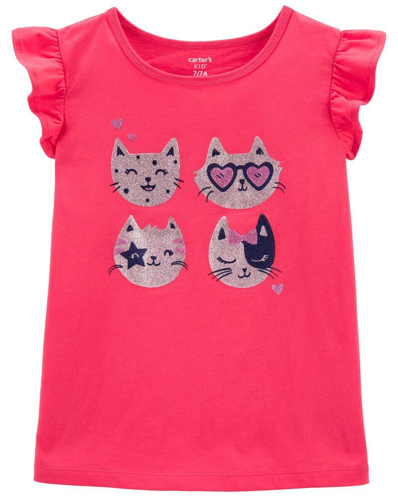 T-shirt en jersey à imprimé de chat scintillant , , hi-res
