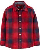 Chemise boutonnée en flanelle à motif écossais, , hi-res