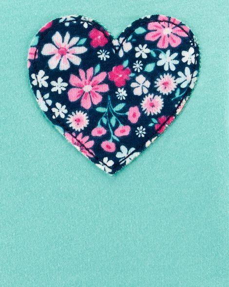 Haut en jersey à cœur fleuri