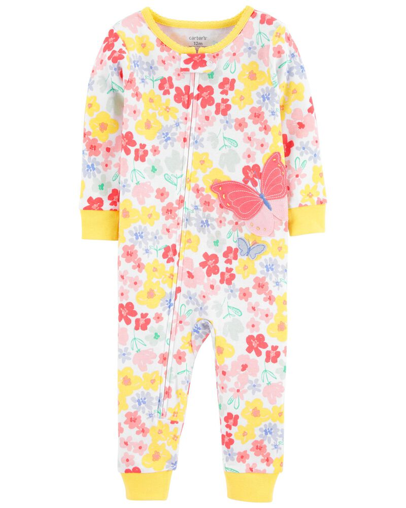 1-Piece Butterfly 100% Snug Fit Cotton Footless PJs, , hi-res