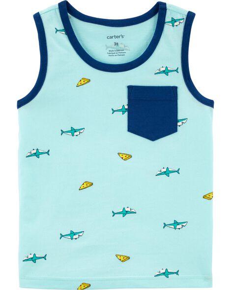 T-shirt en jersey avec imprimé de pizza et requin